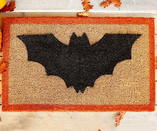 bat doormat using spraypaint