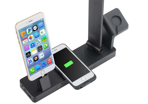 Apple Watch iPhone Charging Stand with built in lamp comes with Qi Charging, Type C USB port and USB 2.0 for recharging all your portable devices