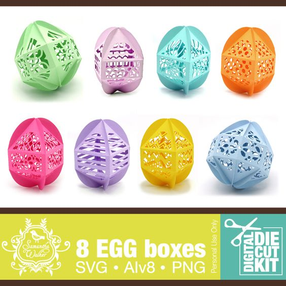 8 decorative egg shaped boxes for use with digital die cutters.