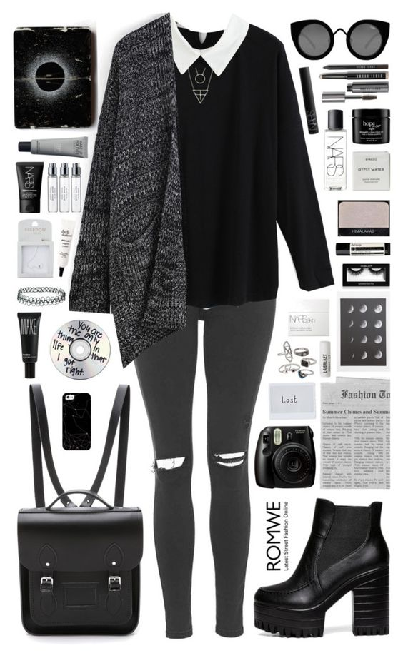 """""""Romwe 7"""" by scarlett-morwenna ❤ liked on Polyvore featuring Topshop, The Cambridge Satchel Company, Aesop, NARS Cosmetics, Byredo, Casetify, Make, Quay, Mudd and philosophy"""