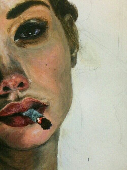art, girl, and cigarette image: