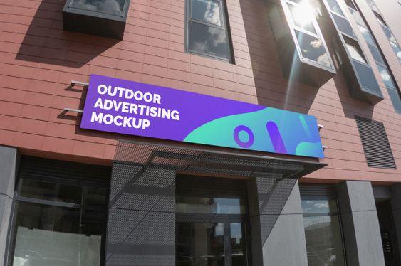 Mockup Of Outdoor Landscape Narrow Signage On Brick Facade Outdoor Advertising Mockup Brick Facade Facade