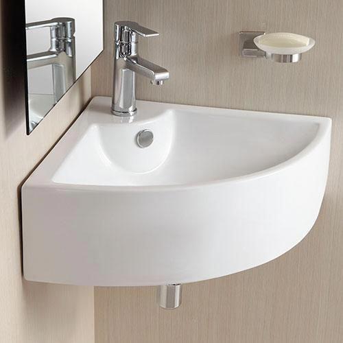 Osseo Vitreous China Wall Mount Corner Bathroom Sink Corner Sink Bathroom Wall Mounted Bathroom Sinks Bathroom Sink Decor