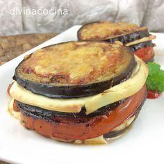 Estas milhojas de berenjena se hacen en pocos minutos y resultan un plato vistoso y ligero al estar hecha la verdura a la plancha. Si lo prefieres puedes freír las berenjenas pero ya sabes que es una verdura que absorbe mucho aceite en la fritura.