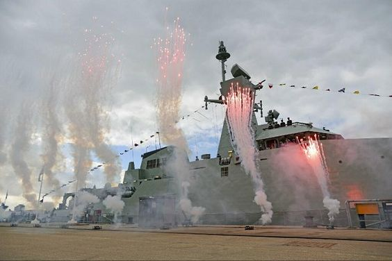 New ship has handed over to Royal Navy of Oman amid colourful celebrations on HM Naval Base Portsmouth 31 Oct 2013.AL RAHMANI 2nd of 3 99 metre corvettes designed,built & delivered for Royal Navy of Oman as part of Project Khareef.