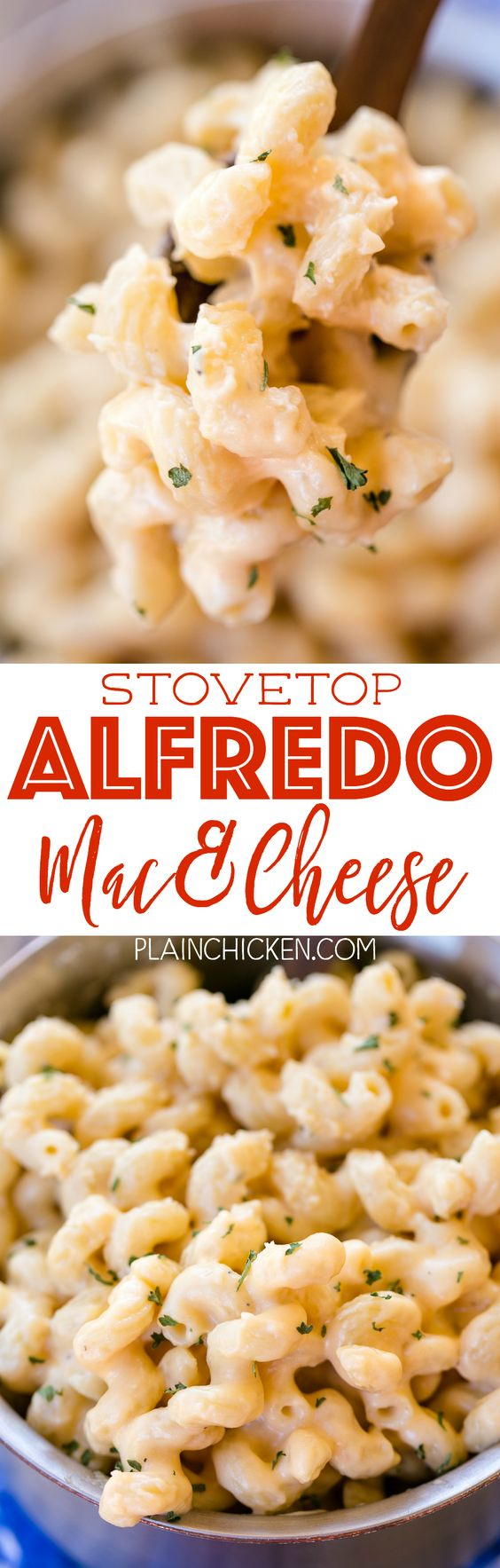 Stovetop Alfredo Mac & Cheese - ready in 10 minutes! We make this all the time! SO easy and SOOOO delicious! Only 5 ingredients! Pasta tossed in jarred Alfredo sauce, cheddar cheese, parmesan cheese and garlic. Perfect weeknight side dish. Great with steak, chicken and pork.