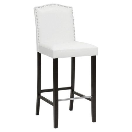 Perfect pulled up to your kitchen island or breakfast table, this rubberwood-framed barstool showcases leather-inspired upholstery and nailhead trim.