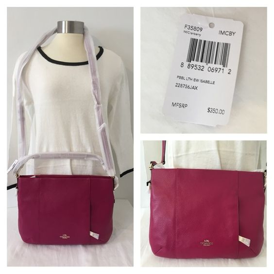 """Coach East/west Isabelle shoulder bag Authentic Coach East/West Isabelle shoulder bag in pebble leather   Style: F35809 Color: IMCBY (pink)  Beautiful pink leather with small leather strap. Also comes with detachable 24"""" matching pink leather strap. Features inside zippered pocket, two inside pockets, and small zippered pocket on the front of the purse. Will come wrapped in protective wrapping on straps and purse as seen in pics.  Approx 14"""" X 10 1/2"""" X 3""""  MSRP $350  ***price firm unless…"""