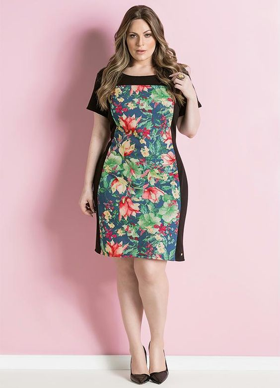 Vestido Tubinho (Floral) Plus Size: