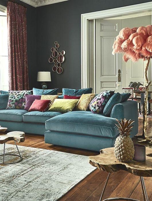 Harrington Large Chaise Velvet Sofa Rhf Barker Stonehouse Living Room Sofa Room Furniture Design Living Room Designs
