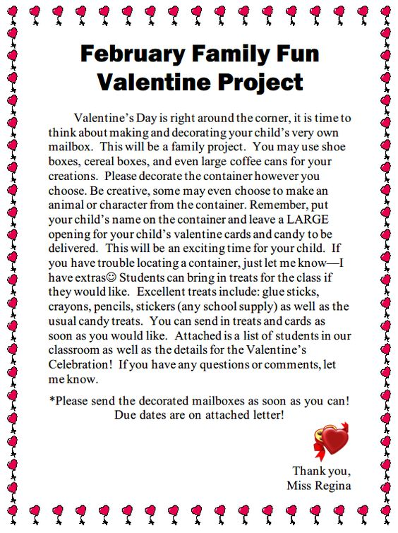 February Family Fun Valentine Project Letter to Parents about