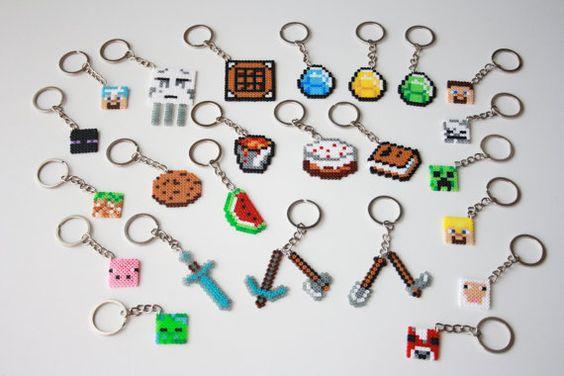 Minecraft-Schlüsselanhänger. Minecraft Magnete Hama Mini Perlen Minecraft Perler. Pixel-art