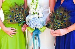 Peacock Wedding Bouquets: Bouquets Peacockweddingideas, Wedding Bouquets, Peacock Fans, Wedding Ideas, Peacock Wedding, Bridesmaids Dresses, Bridesmaid Bouquets