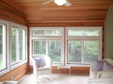 Cedar paneling for sunroom for the home pinterest for Cedar sunroom
