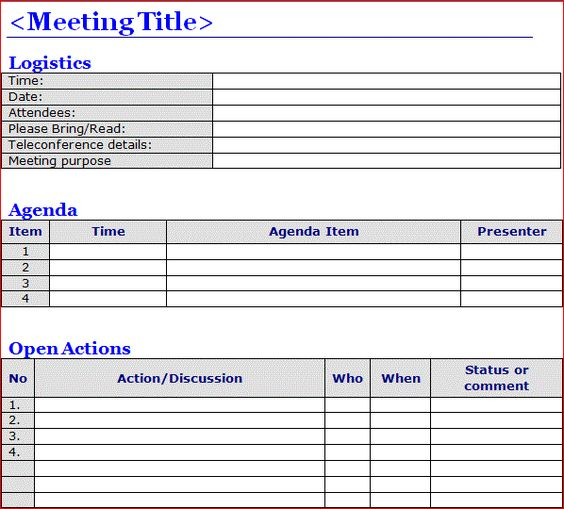 Minutes Of Meeting Template Word | Projectemplates | Excel Project