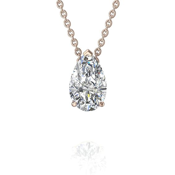 Pendentif collier diamant goutte diamant poire 1 carat or rose Sirena  #diamantsetcarats #diamants #OrBlanc #SolitaireDiamant #Over500 #BagueDeFiancaille #PendentifDiamantPrincesseAura #BagueDiamant #Solitaire4Griffes #OrJaune