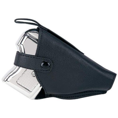 "Maxam Stainless Steel Pistol Flask Holder by BF Systems. $11.87. 6 ounce pistol shaped flask. Faux leather holster. Measures 5"" x 2-5/8"" x 1"". Grab your fedora and get ready for a Prohibition-style night out- this gutsy flask will have everyone abuzz with intrigue. Includes 6oz pistol shaped flask and faux leather holster. Measures 5"" x 2-5/8"" x 1"".. Save 69% Off!"