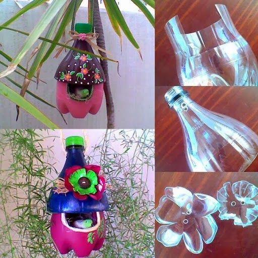 bouteilles en plastique recycl s en de magnifiques nids d 39 oiseaux diy dame nature pinterest. Black Bedroom Furniture Sets. Home Design Ideas