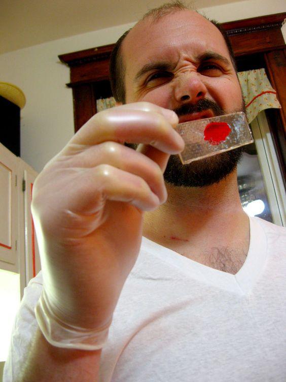 blood sample slide lollipops