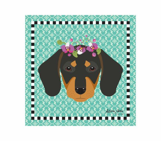 Dachsund Pet Portrait Art Print Illustration by AllisStudio