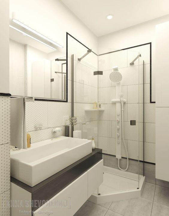 Interior design of a bathroom (Blue splash project)