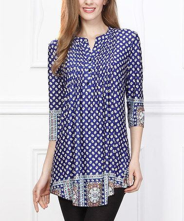 Take a look at this Navy Dot Border Notch Neck Tunic - Women on zulily today!