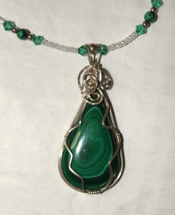 MALACHITE Cabochon Wrapped in STERLING Silver Made by LakotaLuck, $52.00