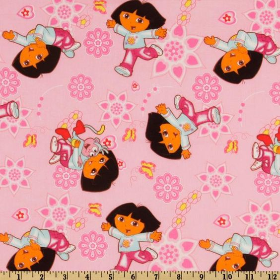 Nickelodeon Dora Daydream Allover Pink from @fabricdotcom  From Springs Creative Product, this fabic is a design of a well known character. Colors include red, yellow, orange, aqua, hot pink and brown on a pink background.