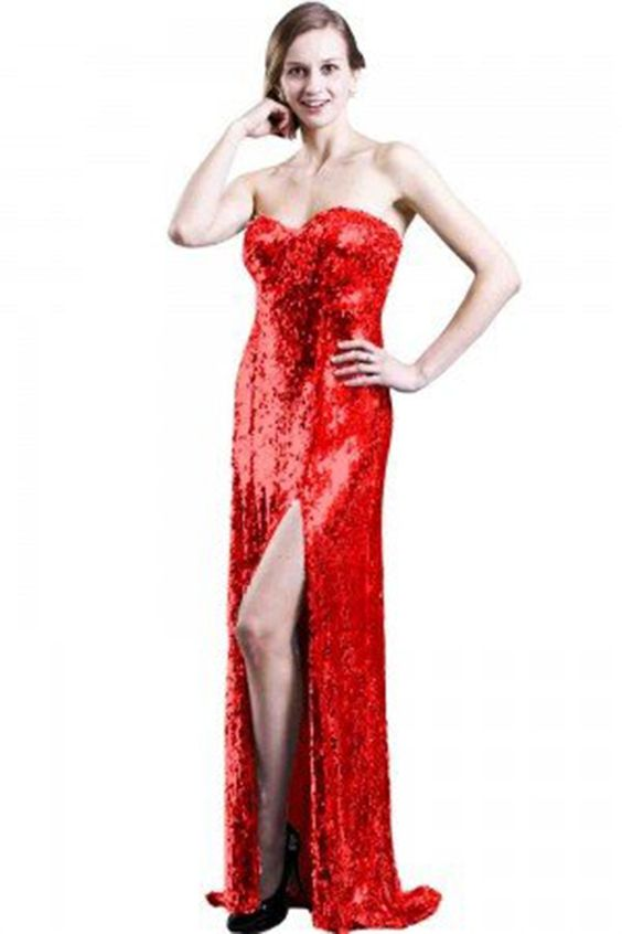 "Sexy ""Jessica Rabbit"" High Slit Fine Knit Sequin Maxi Dress Evening Gown"