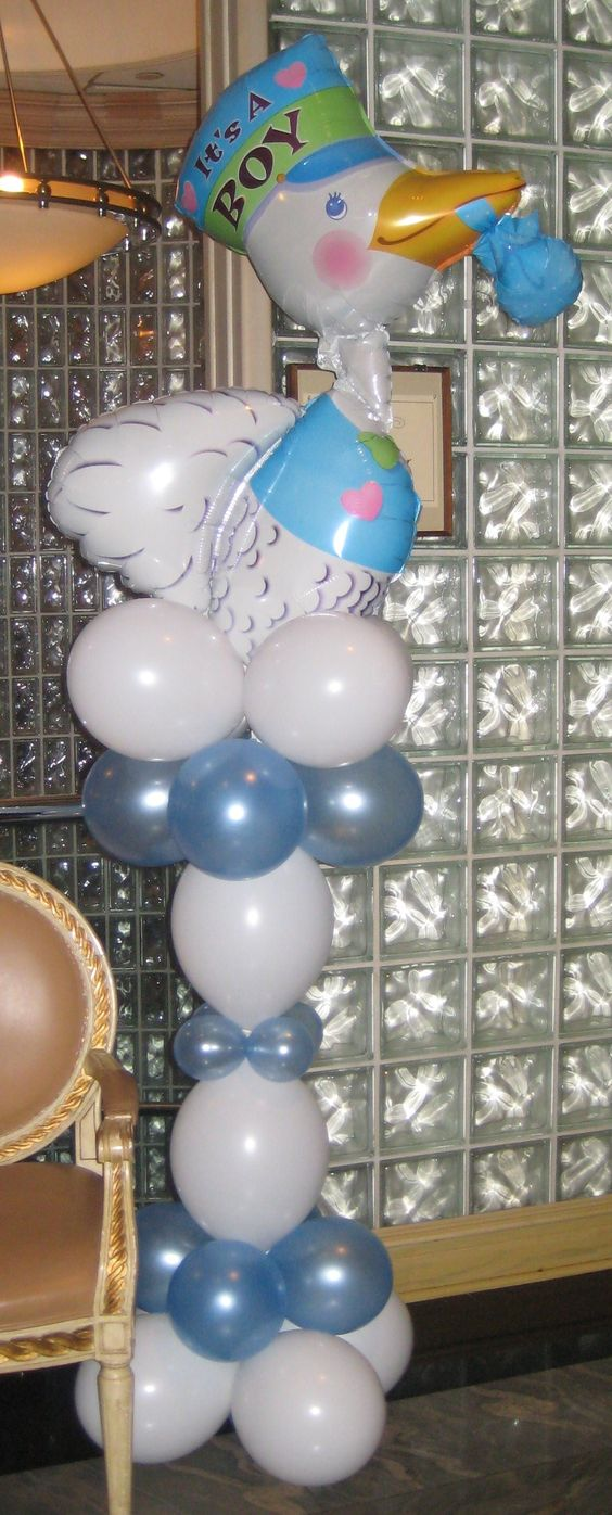 Stork balloon column welcoming guests to the Baby Shower    by www.Total-Party.com