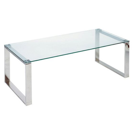 Cortesi Home Remi Contemporary Chrome Glass Coffee Table