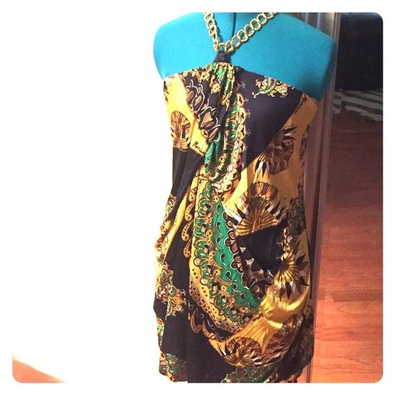 Marciano mini-dress 100% sill Marciano halter dress. Colorful and super figure flattering! Worn once and in perfect condition! Marciano Dresses