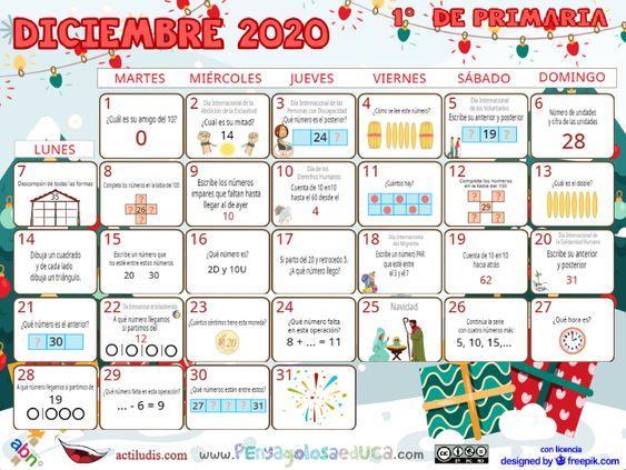 Calendario Primero ABN – Diciembre 2020