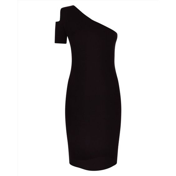 Jaeger Jaeger Cut-Out Knitted Dress ($195) ❤ liked on Polyvore featuring dresses, one shoulder cocktail dress, form fitting cocktail dresses, one sleeve cocktail dress, open shoulder dress and little black dress