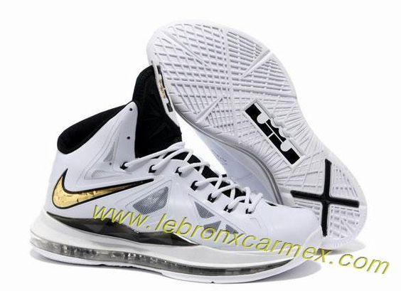 Nike Lebron X (10) White Black Gold  Hot