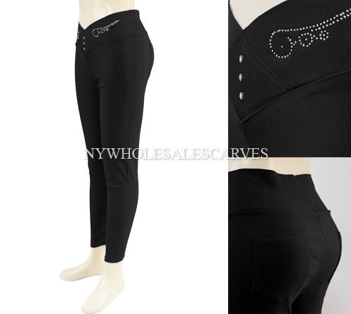 Solid Color Jeggings CY-216 Black