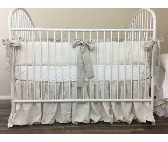 Ivory Cream Linen Baby Bedding Set