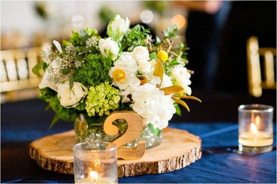 Table Number and Centerpiece | Navy Rustic Elegance Proximity Hotel Wedding | Julie Livingston Photography | Leigh Pearce Weddings, Greensboro North Carolina Wedding Planner, Stylist, Coordinator