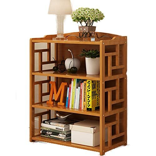 Dulplay Bamboo Floor Standing Bookcase Vintage Bookshelf With Drawer Solid Wood Open Shelf Library Display Stand Tall Modern F 70x29x102cm Vintage Bookshelf Shelves Open Shelving