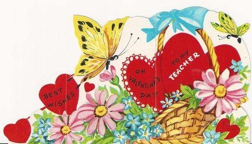 1241 Butterflies Love The Flower Basket Vintage Die Cut Valentine Card | eBay