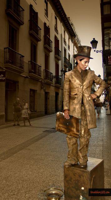 Human statue... LOCATION: Barcelona, Spain
