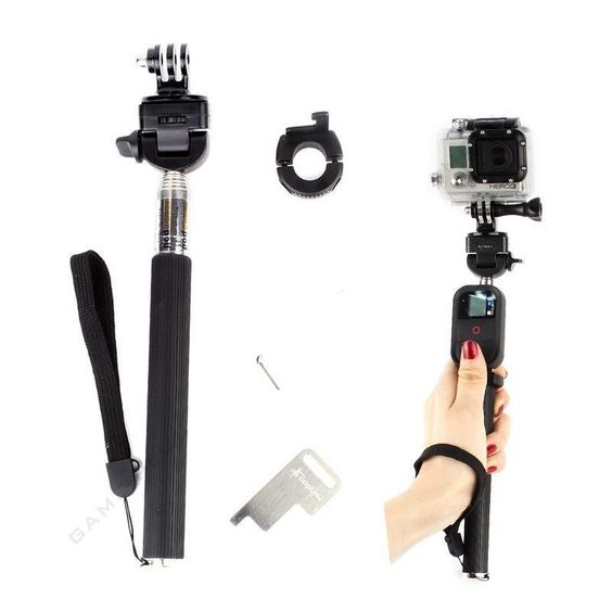 $7.99 (Buy here: http://appdeal.ru/5rp0 ) Gopro Extendable Monopod Remote Pole Self Stick with WiFi Remote Clip Lock Mount for GoPro4/3/3+ Camera Black for just $7.99
