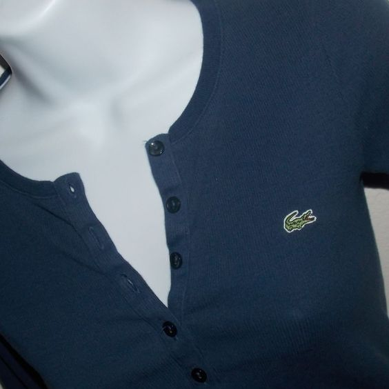 LACOSTE Long Sleeve Henley Button Front Shirt Navy Blue Size 34 US 2 XXS (2XS) #Lacoste #KnitTop #Casual - SOLD