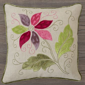 William Yeoward Rosetta Red Lime Cushion - Embroidered Linen | Designers Guild UK