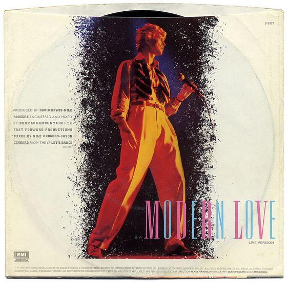 Modern Love b/w Modern Love (Live).  David Bowie, EMI America Records/USA (1983)    Back Of Sleeve