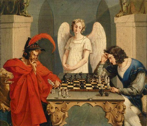 """""""Ajedrez con el Diablo"""". Por Friedrich August Moritz Retzsch, circa 1825."""