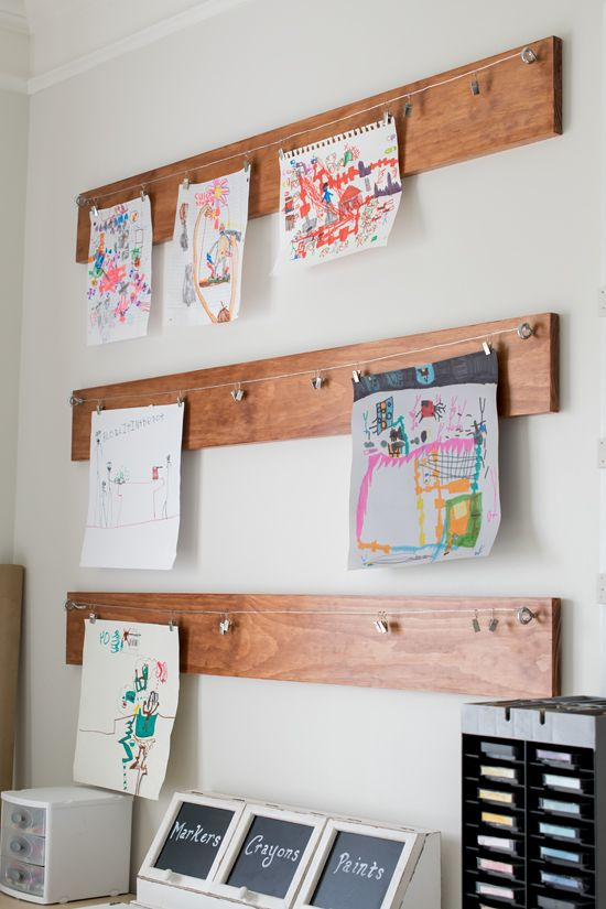 Create a fun children's fine art gallery in your playroom to display your kid's art: