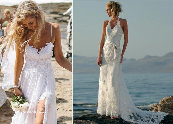 Vestido de renda casamento na praia