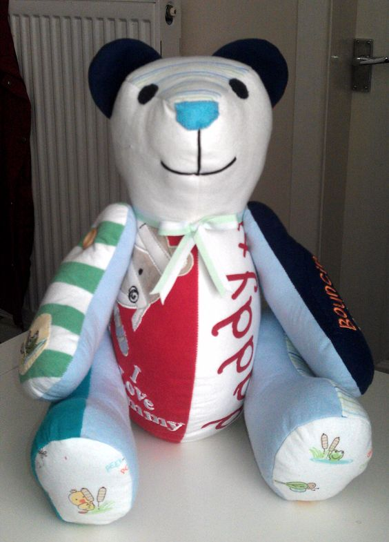 A gorgeous memory Ted made from a babys first clothing & gifted to him at his christening <3 www.treasured-teds.co.uk