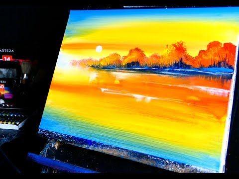 Orange Sunset Easy Landscape Painting Techniques For Beginners Dranitsin Youtu Easy Landscape Paintings Landscape Painting Techniques Landscape Paintings
